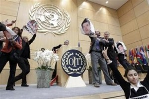 Bahram Soroush protesting Iranian regime at International Labour Organisation meeting