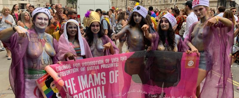 CEMB marches at Pride in London 2019 as topless Imams of Perpetual Indulgence