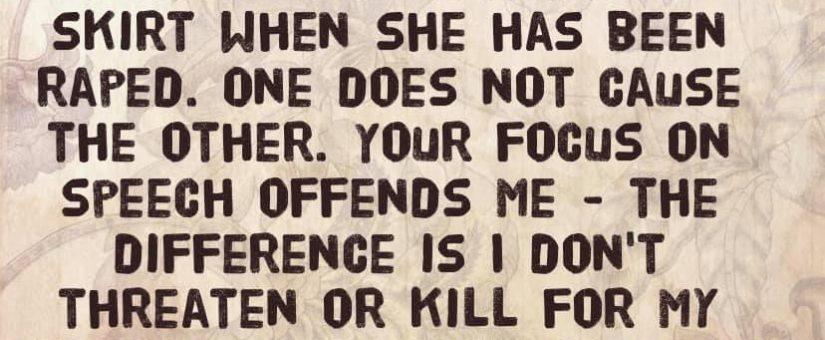 The problem is murder, not speech